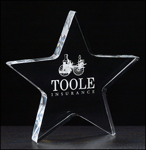 Star Shaped Clear Acrylic Paperweight