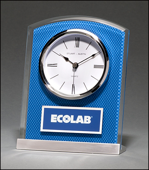 Glass Clock with Blue Carbon Fiber Design on Aluminum Base