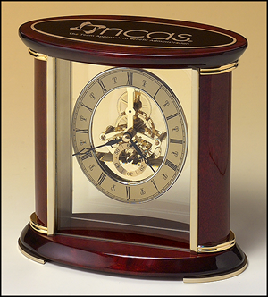 Skeleton Clock Brass Finished Movement Rosewood Finish Accents