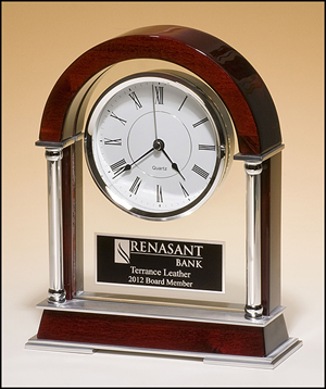 Rosewood Finish Mantle Clock with Chrome Plated Posts