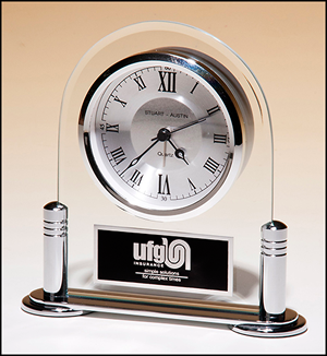 Beveled Glass Desk Clock with Silver Metal Finish