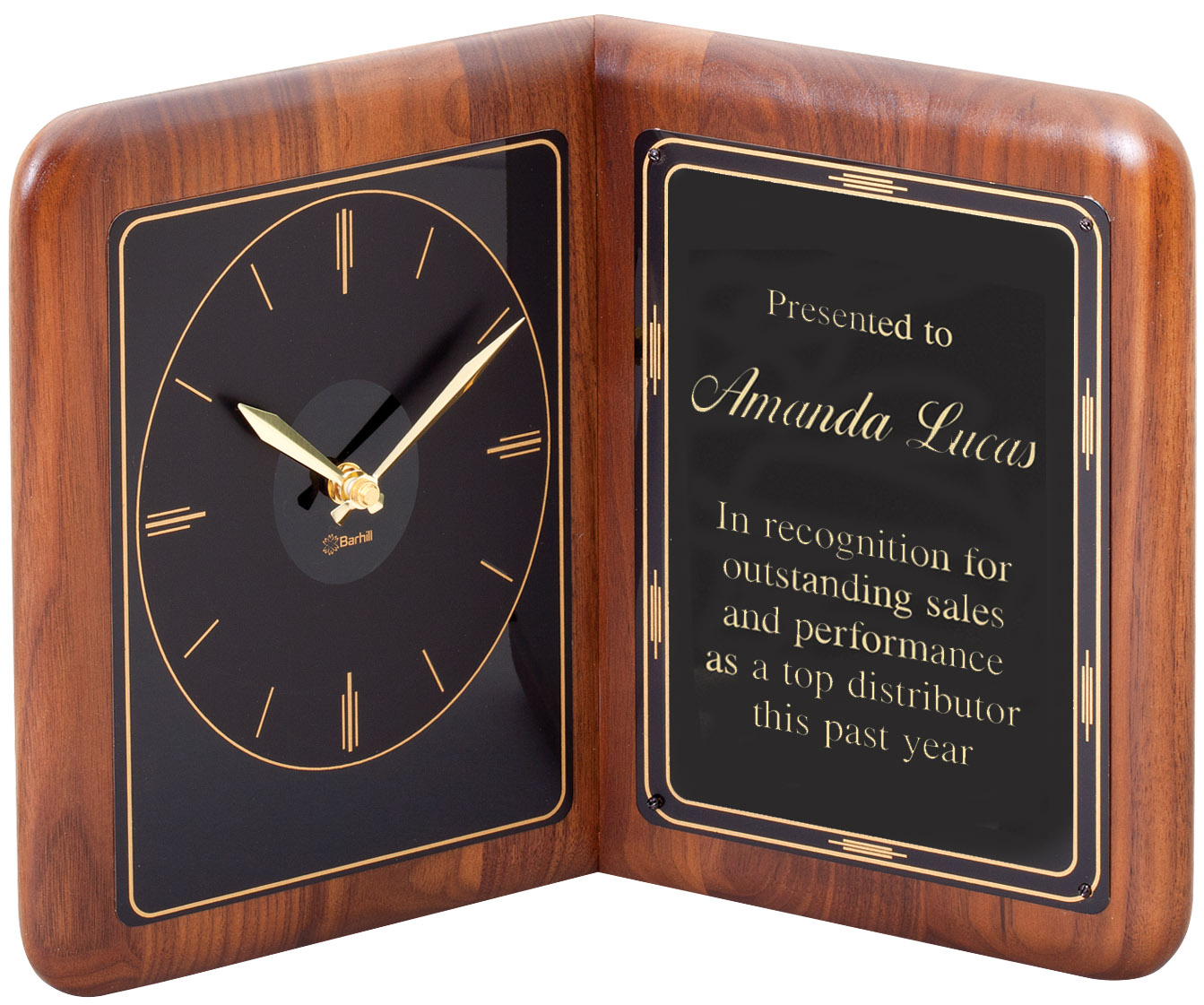 American walnut book clock with black engraving plate