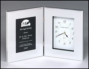 Silver Clock With Black/Silver Engravable Plate