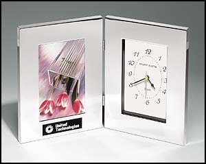 Silver Clock and Photo Frame