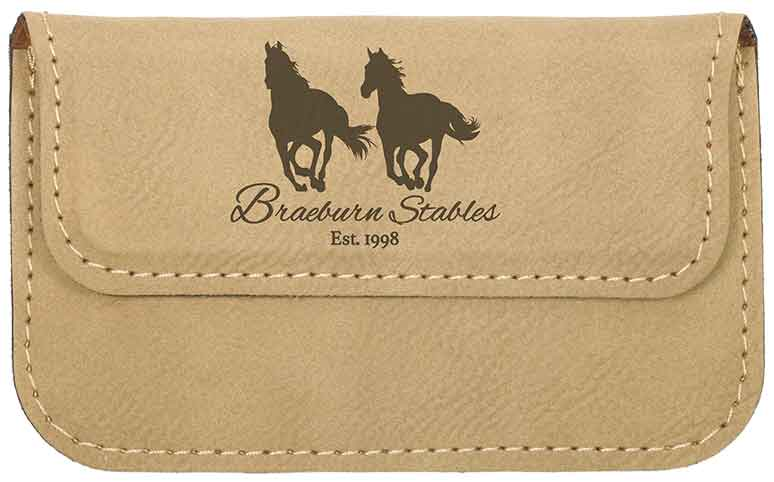 Light Brown Leather Engravable Card Case