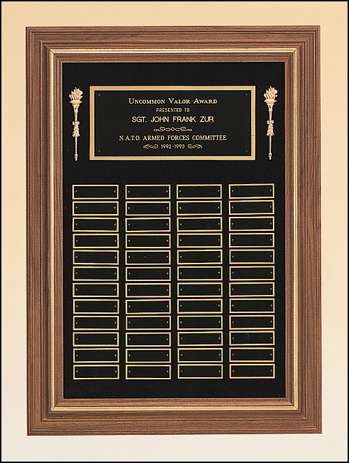 Walnut frame perpetual plaque with plates