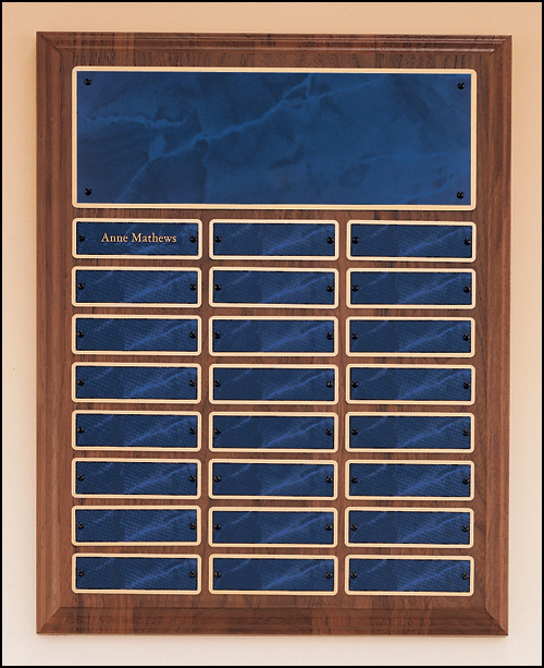 Walnut perpetual plaque with blue marble plates