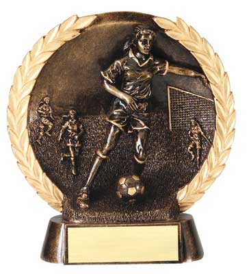 Female Soccer Plate Resin trophy