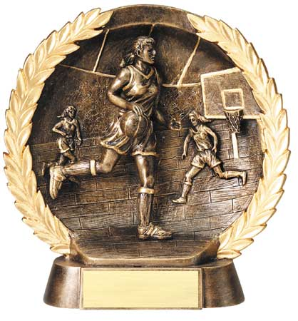 Female Basketball Plate Resin Trophy