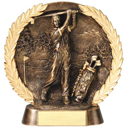 Male Golf Plate Resin Trophy