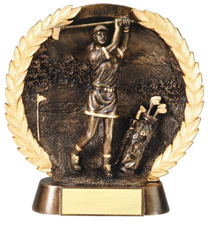 Female Golf Plate Resin Trophy