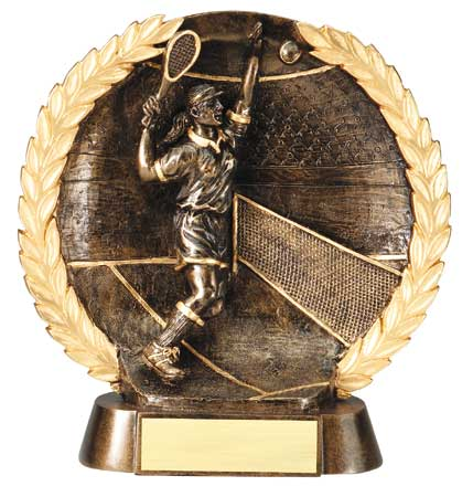 Female Tennis Plate Resin Trophy