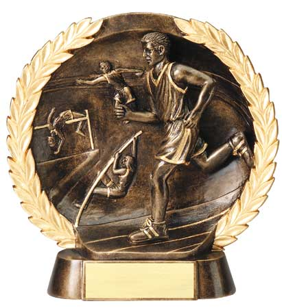 Male Track Plate Resin Trophy