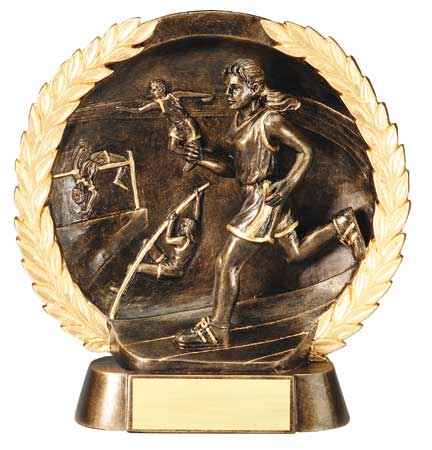 Female Track Plate Resin Trophy