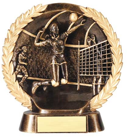 Female Volleyball Plate Resin Trophy