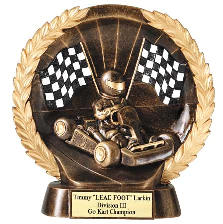 Go Kart Plate Resin Trophy