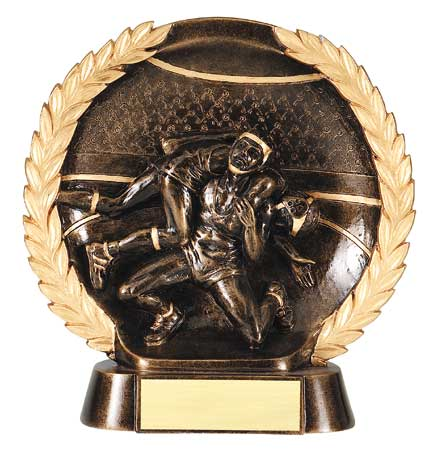 Male Wrestling Plate Resin Trophy