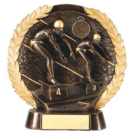 Male Swimming Plate Resin Trophy
